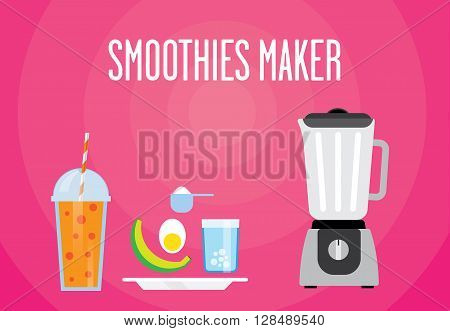 Modern blender with the protein shake. Eat the banana eggs protein powder mixed. All protein smoothies for a healthy Breakfast.