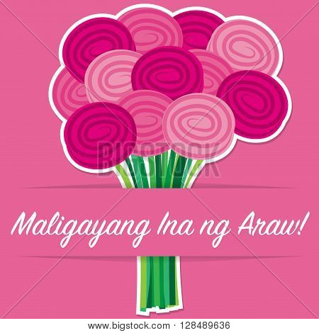 Tagalog Rose Mother's Day Card In Vector Format.