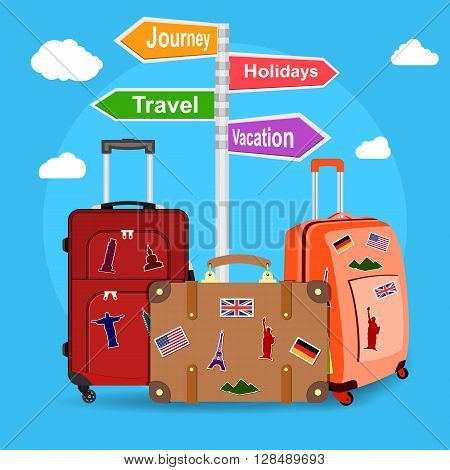 picture of travel bags and signpost vacation, travel, journey, holidays with clouds on background. illustration in flat design.  travel and vacations concept