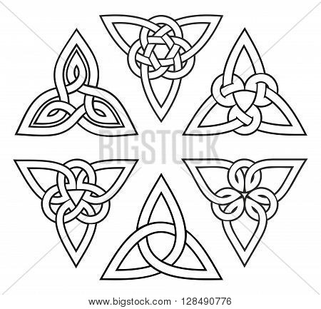 vector celtic trinity knot set, white with stroke