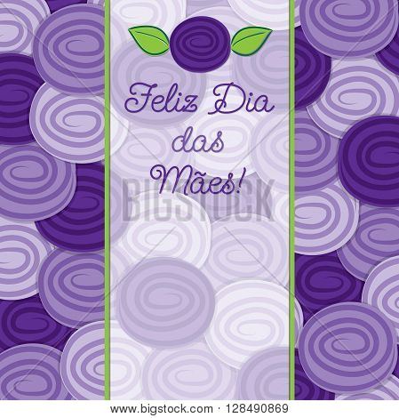 Portuguese Rose Mother's Day Card In Vector Format.