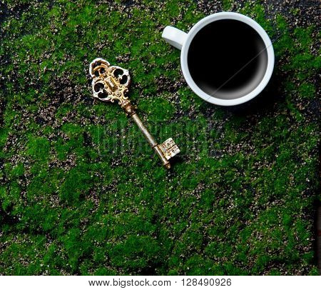 photo of the cup of coffee and key on the green grass background
