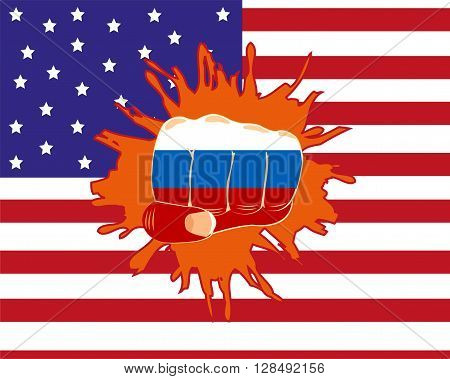The Russian fist overpunching flag of the america.Vector illustration