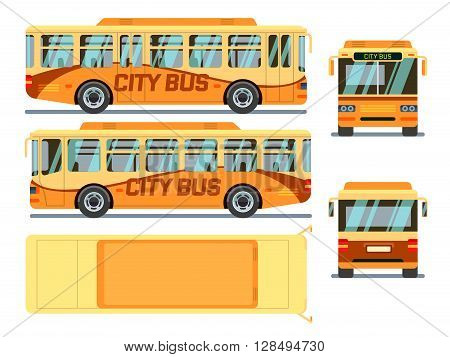 Urban, city bus in different view positions. City urban bus, transport bus, public bus. Vector illustration