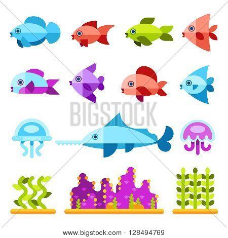 Flat marine animals vector icons. Fish sea, icon fish animal, marine fish illustration