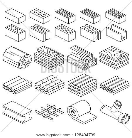 Building construction materials. 3D isometric icons. Material iron construction, roof material for construction, construction  supplies. Vector illustration