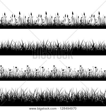 Seamless wild herbs, flowers and grass silhouettes vector set. Grass plant pattern, meadow grass and flower field, seamless flower and grass lawn, decoration line grass and flower illustration