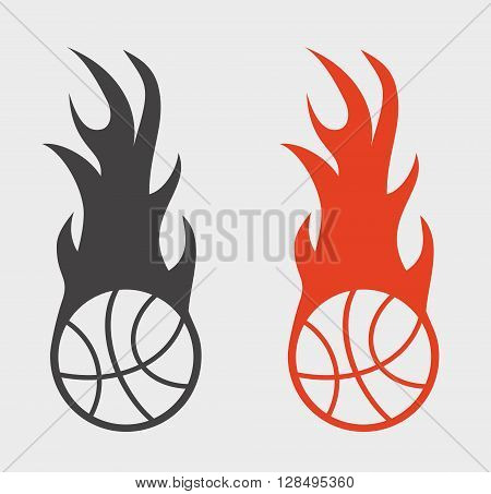 Basketball Sign Or Icon With Ball And Fire Flame.