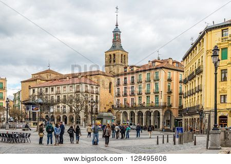 SEGOVIA,SPAIN - APRIL 22,2016 - Square Plaza Mayor of Segovia. Segovia is a city in the autonomous region of Castile and Leon in Spain.