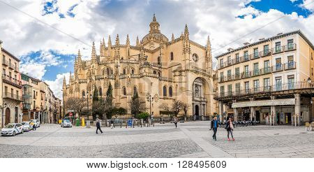 SEGOVIA,SPAIN - APRIL 22,2016 - Panorama view at the Cathedral of Segovia. Segovia Cathedral is located in the main square (Plaza Mayor) of the city of Segovia.