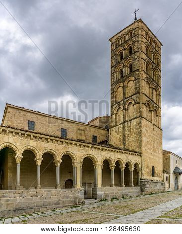 SEGOVIA,SPAIN - APRIL 22,2016 - Church of San Esteban in Segovia.The church of San Esteban is a Romanesque church in the Spanish city of Segovia originally built in the XII.century.