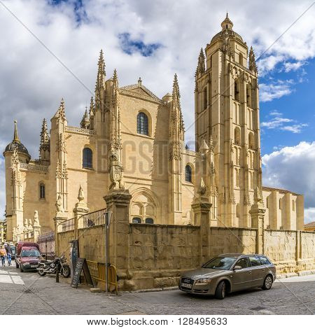 SEGOVIA,SPAIN - APRIL 22,2016 - Segovia Cathedral is the Gothic-style cathedral located in the main square (Plaza Mayor) of the city of Segovia
