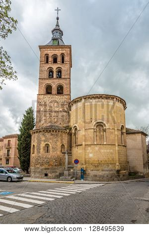 SEGOVIA,SPAIN - APRIL 22,2016 - Romanesque church of San Andres with mudejar tower in Segovia. Built in the 12th century in the Romanesque style.