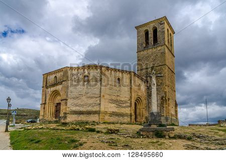 SEGOVIA,SPAIN - APRIL 22,2016 - Church La Vela Cruz in Segovia. The Templar Iglesia Vera Cruz is the most interesting of several splendid Romanesque churches in Segovia.