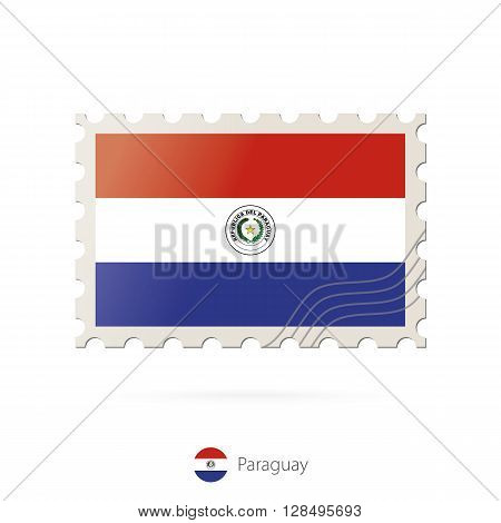Postage Stamp With The Image Of Paraguay Flag.