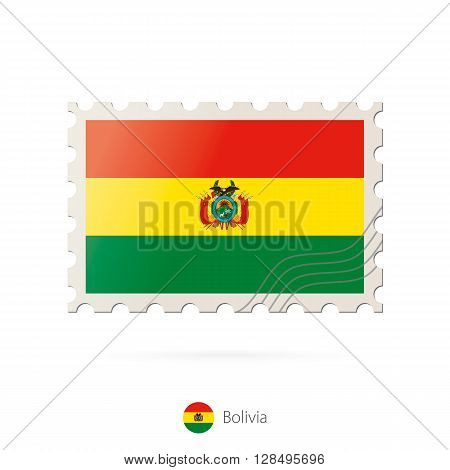 Postage Stamp With The Image Of Bolivia Flag.