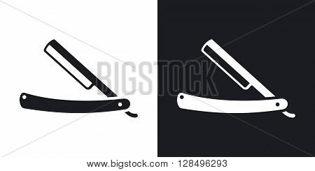 Vector straight razor icon. Two-tone version on black and white background
