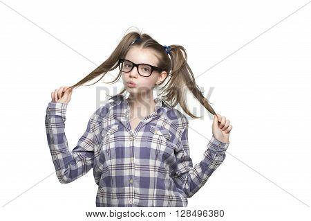Teen Girl In A Plaid Shirt..