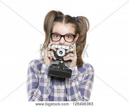 Girl Teenager Holding A Camera..