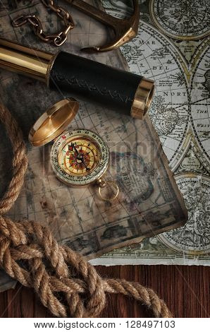 Nautical Background With A Navigation Tools