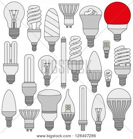 Light lamps set. Colored outlined icons isolated on the white. Vector illustration.
