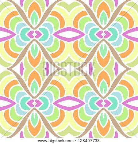 Seamless hand drawn vector ethnic texture. Vintage tribal ethnic backdrop seamless texture. Boho fashion style background. Hand drawn vector illustration made of simple doodles. Zen tangle pattern.