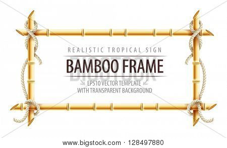Bamboo frame template for tropical signboard with ropes and copypaste place text. Vector illustration. Isolated on white transparent background