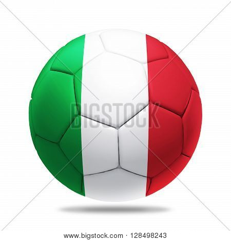 3D soccer ball with Italy team flag isolated on white