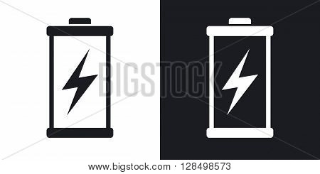 Discharged battery icon vector. Two-tone version on black and white background