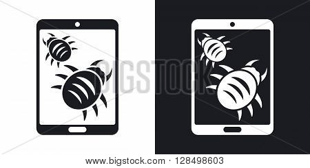 Tablet is infected by malware vector illustration. Two-tone version on black and white background