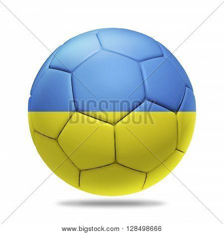 3D soccer ball with Ukraine team flag isolated on white