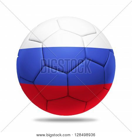 3D soccer ball with Russia team flag isolated on white