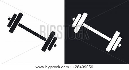 Vector barbell icon. Two-tone version on black and white background