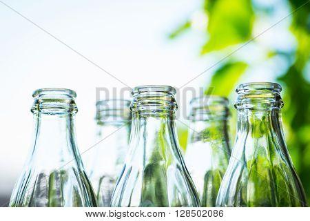 Glass Bottles Over The Sunny Background