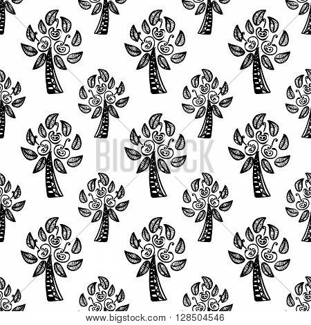white seamless pattern with black Apple trees. vector