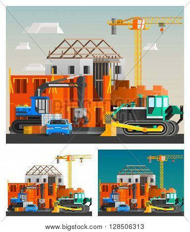 Construction and machines orthogonal compositions set with crane and cars flat isolated vector illustration