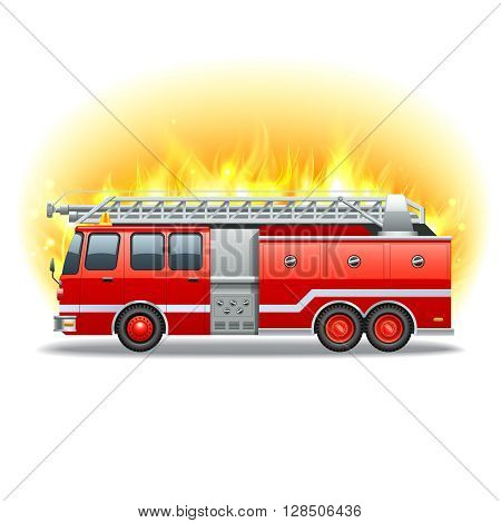 Red firetruck with rescue ladder and fire on background vector illustration