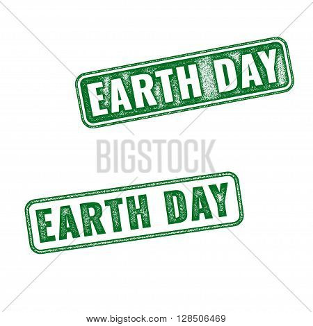 Earth Day Grunge Rubber Stamps Isolated On White