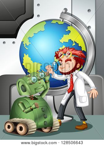 Mad scientist with robot and globe illustration