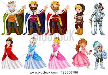 Different fairytales characters on white background illustration