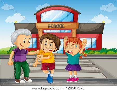 Bully boy picking up on kids at school illustration