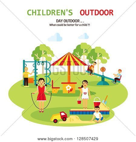 Color flat illustration with title and tagline of outdoor playground for children with sandbox seesaw and toy vector illustration