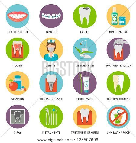 Dental Care Icons Set. Dental Care Vector Illustration. Dental Care Flat Symbols. Dental Care Elements Collection.