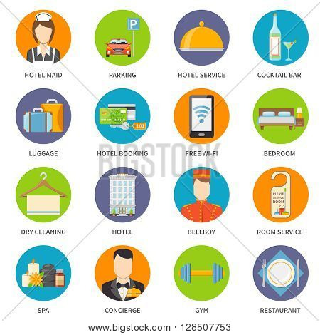 Hotel Icons Set. Service Vector Illustration. Hotel Service Symbols. Hotel Service Flat Elements. Hotel Service Design. Hotel Service Isolated Collection.