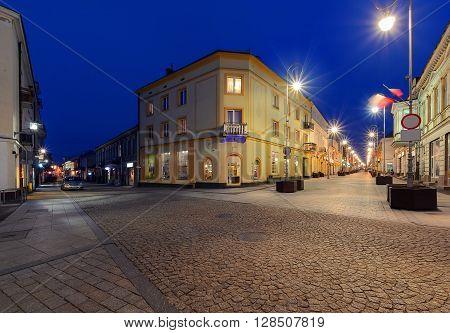 Henryka Sienkiewicza Street in the evening. Kielce Poland. Europe.
