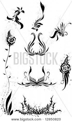 Black vector patterns for design.