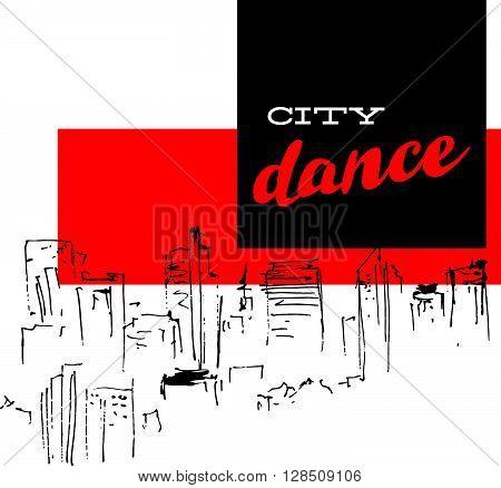 Vector dance studio logo. Dance club, dance floor icon. Music. Rhythm. City scape hand drawn. Modern dance. Disco bar, club logo. Ballet. Pole dance. Dance school insignia.
