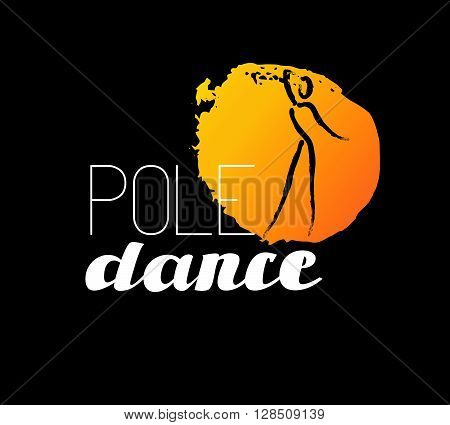 Vector dance studio logo. Dance club icon. Dancing girl icon. Human icon. Stamp. Paint drop isolated. Human figure. Dancing lady silhouette. Pole dance. Dance school insignia.