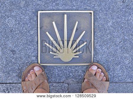 Metal signal in asphalt Way of St. James in Spain man's feet in sandals on sidewalk.From above