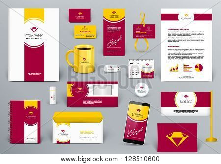 Professional  luxury branding design kit for jewelry hotel, real estate or  travel agency firm. Gold/red/white style. Premium corporate identity template. Business stationery mock-up with logo.